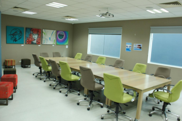Picture of the Green Room (meeting room) with table and chairs