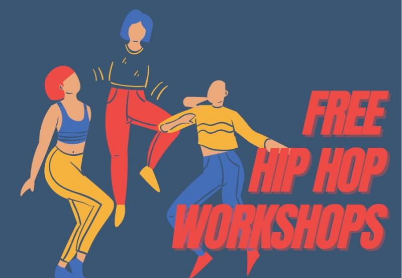 A block colour cartoon showing three people dancing and the title 'free hip hop workshops'.
