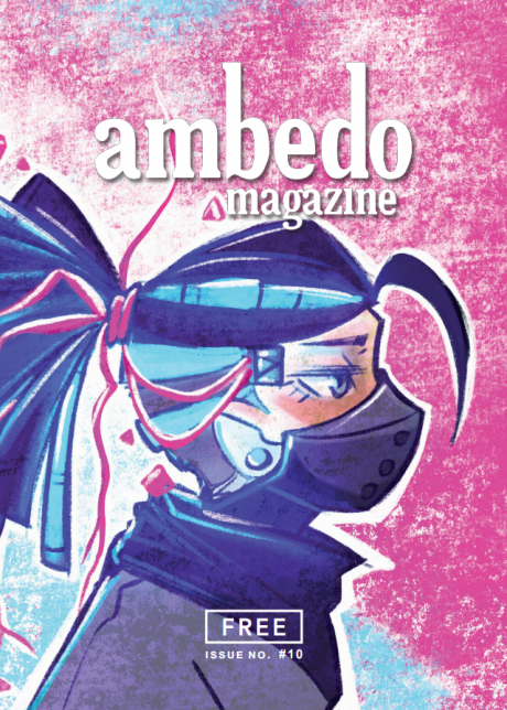 Cover of Ambedo Magazine issue 11, featuring illustrated pink, purple and blue image of a woman wearing a face mask.