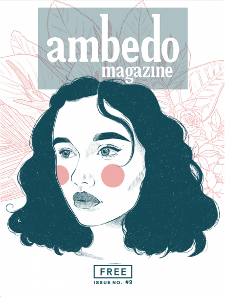 Cover of Ambedo Magazine issue 9, featuring a pale pink and blue illustrated image of a girl with long hair against a background of pink leaf outlines.