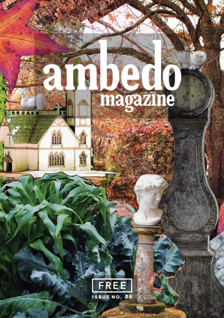 Cover of Ambedo Magazine issue 8, featuring a collage design of autumn colours and objects, including a statue bust, an old church, a tree, and red and gold leaves.
