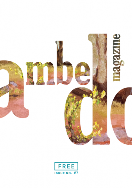"Cover of Ambedo Magazine issue 7, featuring the ""Ambedo"" logo filled in with a plein air oil painting of trees and flowers, on a white background."
