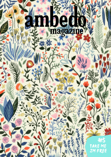 Cover of Ambedo Magazine issue 5, featuring small, hand drawn illustrated flowers in multiple colours (mostly pastels) against a cream background.