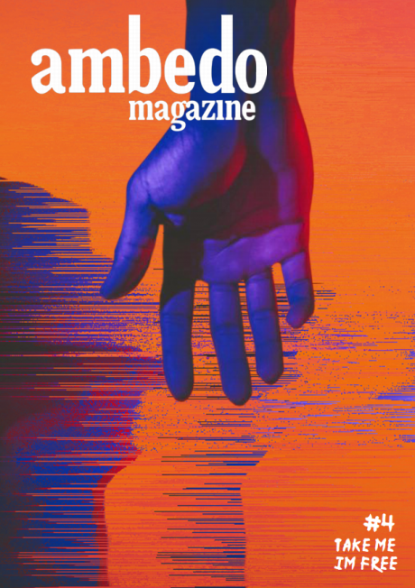 Cover of Ambedo Magazine issue 4, featuring a graphic of a dark violet hand reaching down from the top of the page, against a background of red and violet abstract distortions.