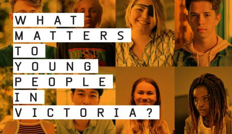 A banner image with a collage of images of young people tinted orange. In front of the image is black text on a white background that says: what matters to young people in Victoria?
