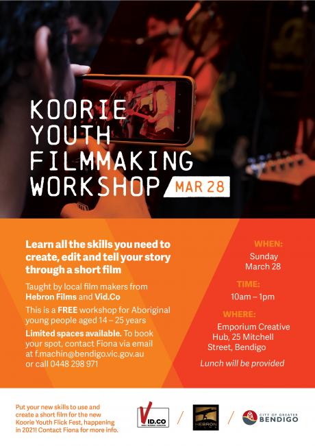 A poster advertising the Koorie Youth Filmmaking workshop