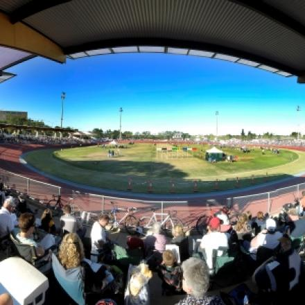 View of a sports oval from the stands